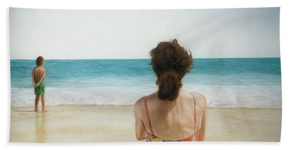 Beach Hand Towel featuring the painting On The Beach by Rich Milo
