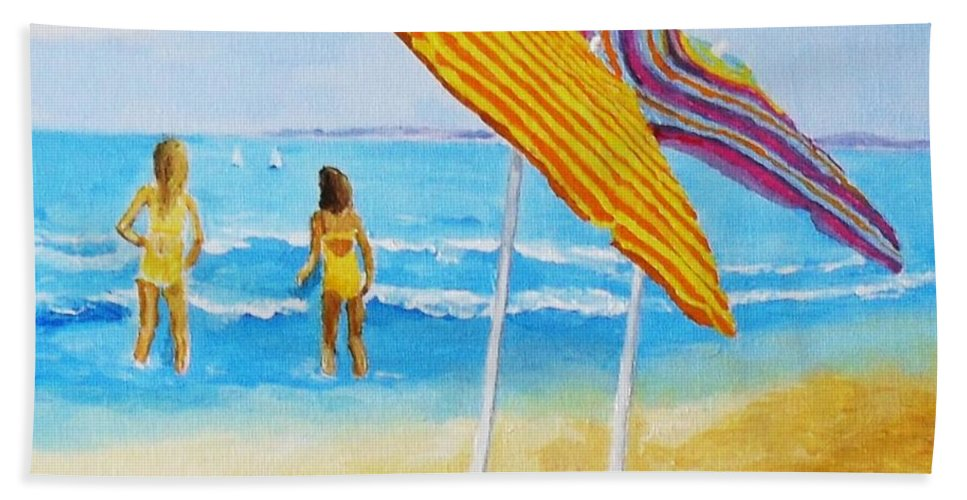 Beach Bath Sheet featuring the painting On The Beach by Rodney Campbell