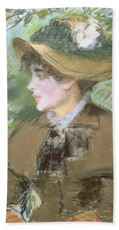 Impressionist; Portrait; Woman; Profile; Head; Hat; Bonnet Bath Sheet featuring the painting On The Bench by Edouard Manet
