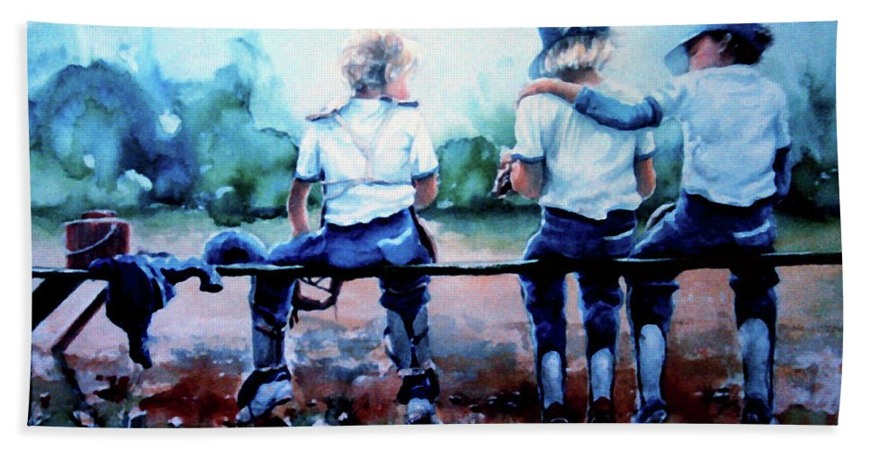Boys Baseball Bath Sheet featuring the painting On The Bench by Hanne Lore Koehler