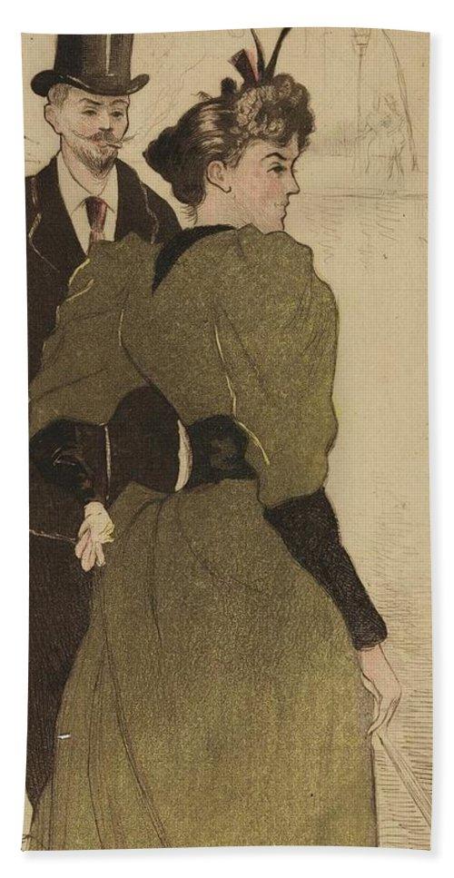 On The Boulevards (sur Les Boulevards) Eug�ne Del�tre (1864 - 1938) Bath Sheet featuring the painting On The Boulevards by Eugne Deltre