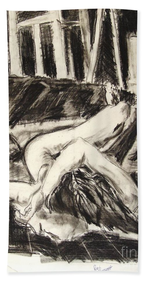 Inclined Nude Bath Towel featuring the drawing On The Divan by Ron Bissett