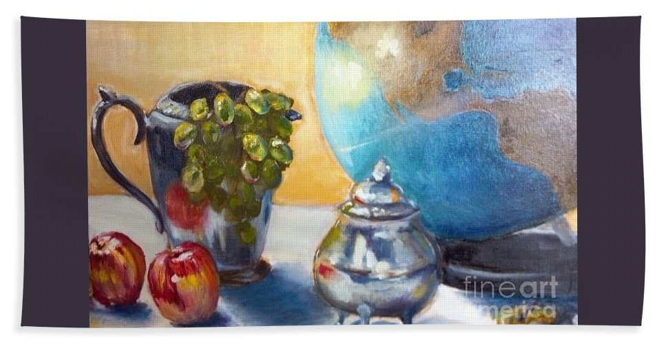 Globe Bath Sheet featuring the painting On The Etagiere by Leslie Dobbins