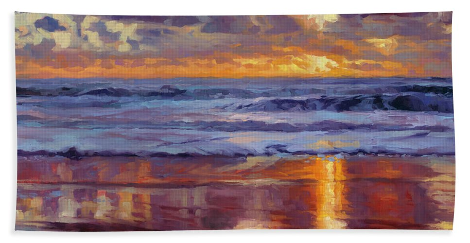 Ocean Bath Towel featuring the painting On The Horizon by Steve Henderson