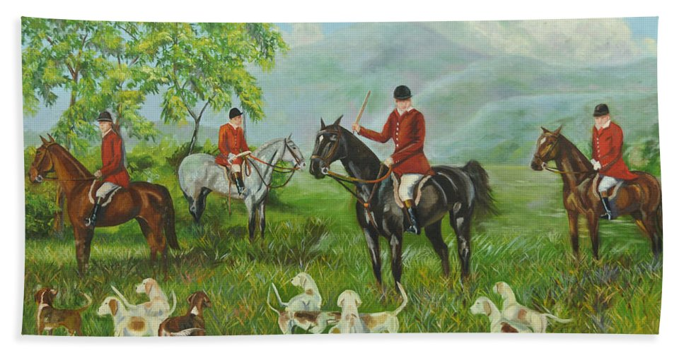 Fox Hunt Hand Towel featuring the painting On The Hunt by Charlotte Blanchard