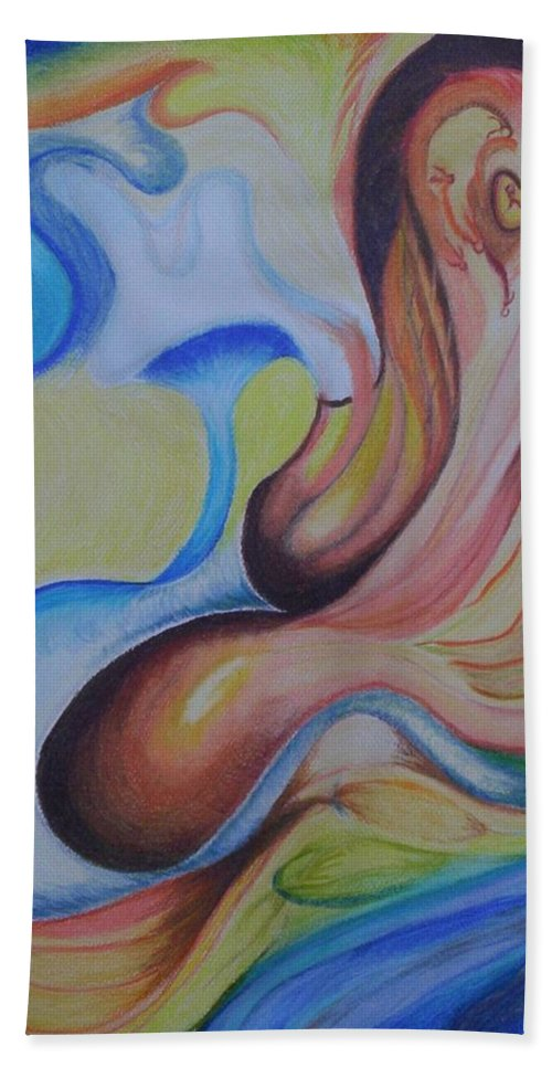 Abstract Hand Towel featuring the painting On The Island by Suzanne Udell Levinger