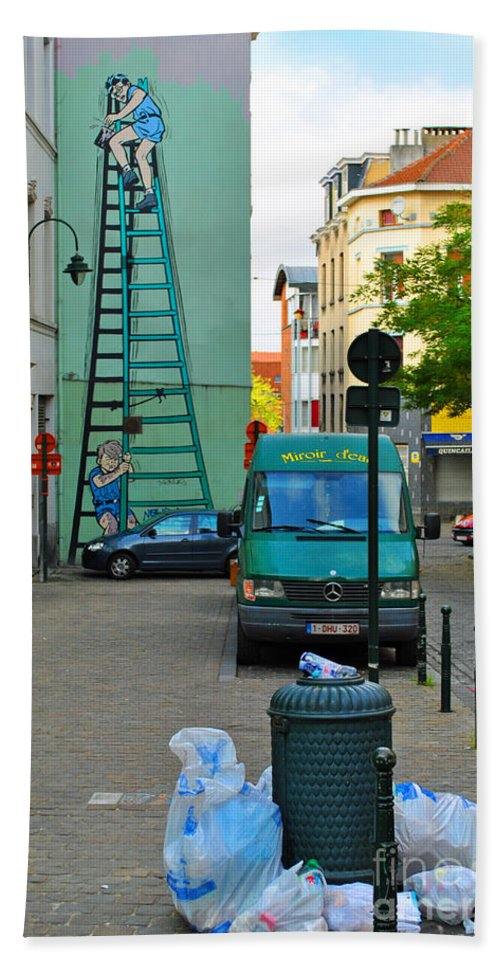 Mural Hand Towel featuring the photograph On The Ladder by Jost Houk