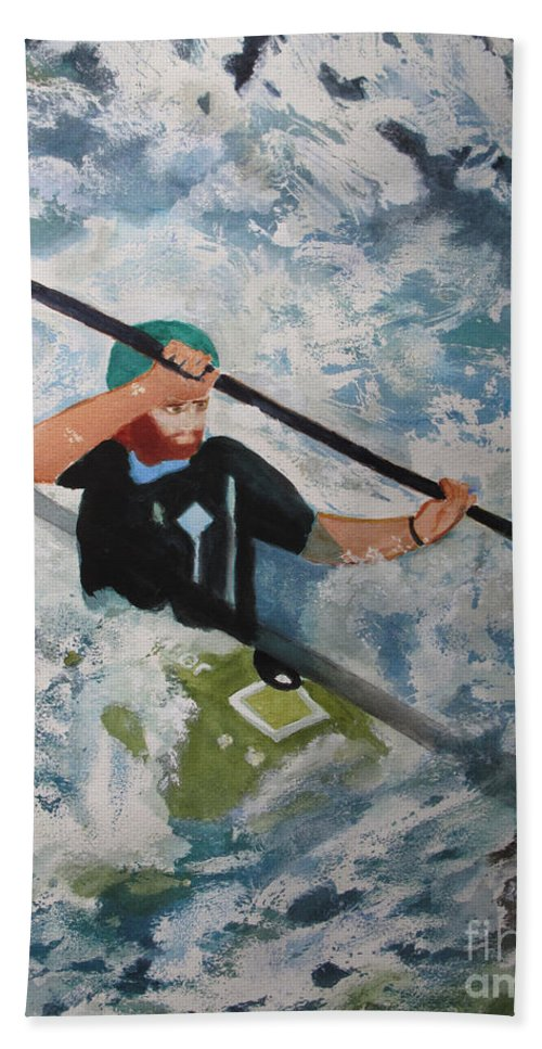 Water Hand Towel featuring the painting On The New by Sandy McIntire