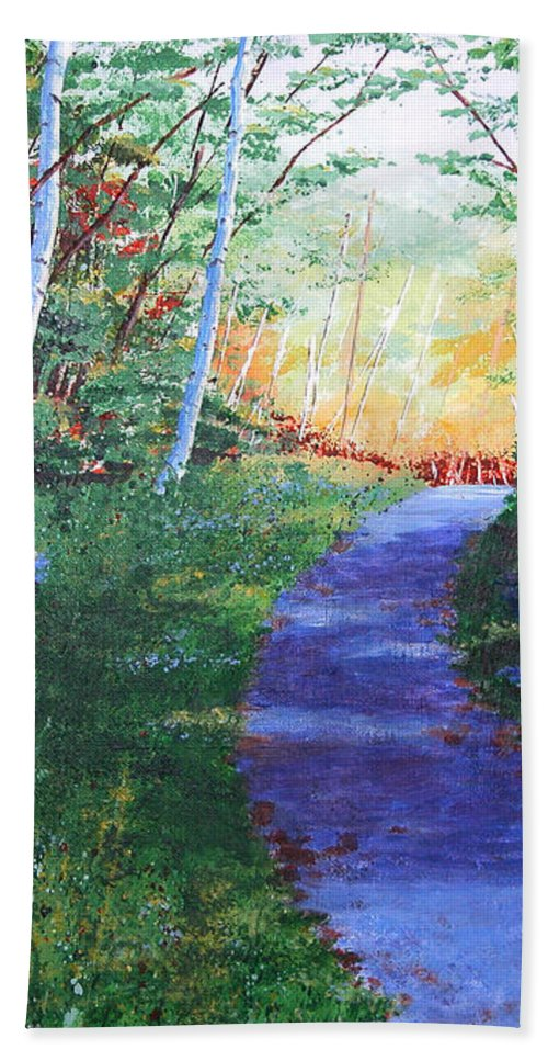 Pathway Hand Towel featuring the painting On The Path by Lynn Quinn