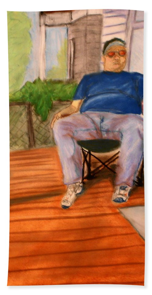 Man Hand Towel featuring the pastel On The Porch With Uncle Pervy by Jean Haynes