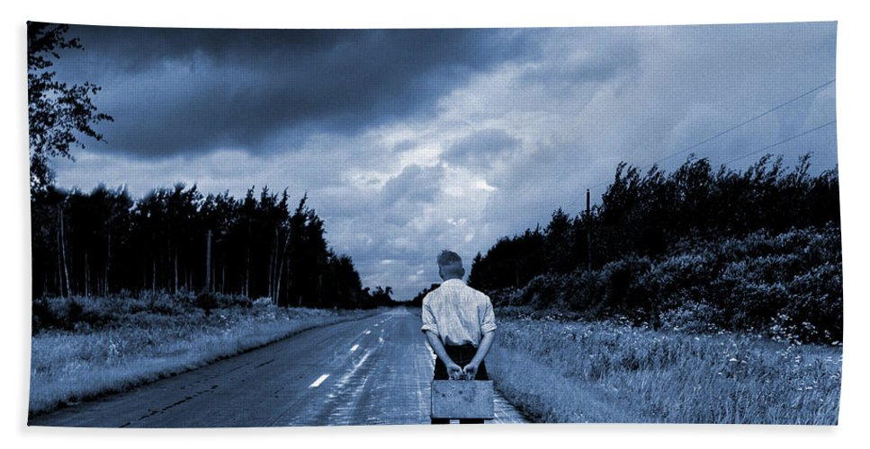 On The Road Hand Towel featuring the photograph On The Road by Donald Erickson