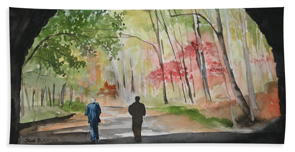 Road Hand Towel featuring the painting On The Road To Nowhere by Jean Blackmer