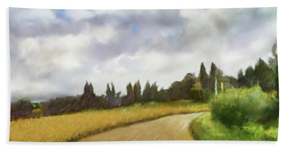 Siena Hand Towel featuring the digital art On The Road To Siena by Dennis Kirby
