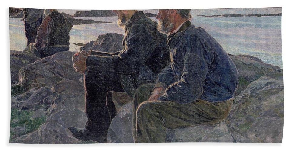 The Bath Towel featuring the painting On The Rocks At Fiskebackskil by Carl Wilhelm Wilhelmson