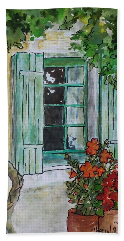 Window Hand Towel featuring the painting On The Street Where You Live by Cheryl Wallace