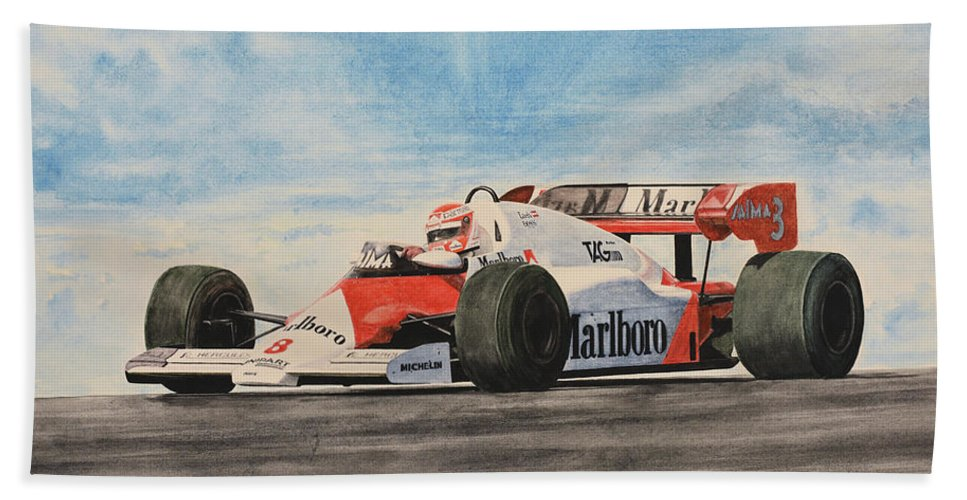 Formula One Bath Sheet featuring the painting On The Top by Oleg Konin