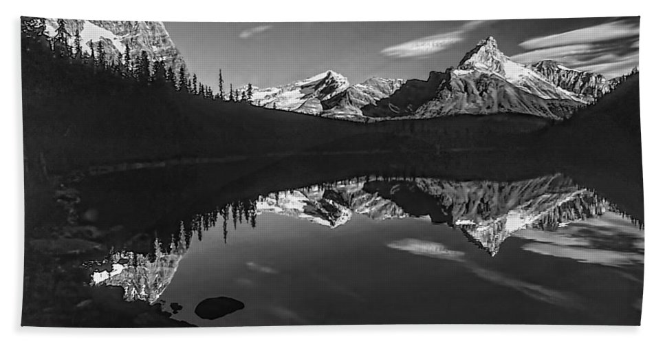 Mountains Hand Towel featuring the photograph On The Trail Bw by Steve Harrington