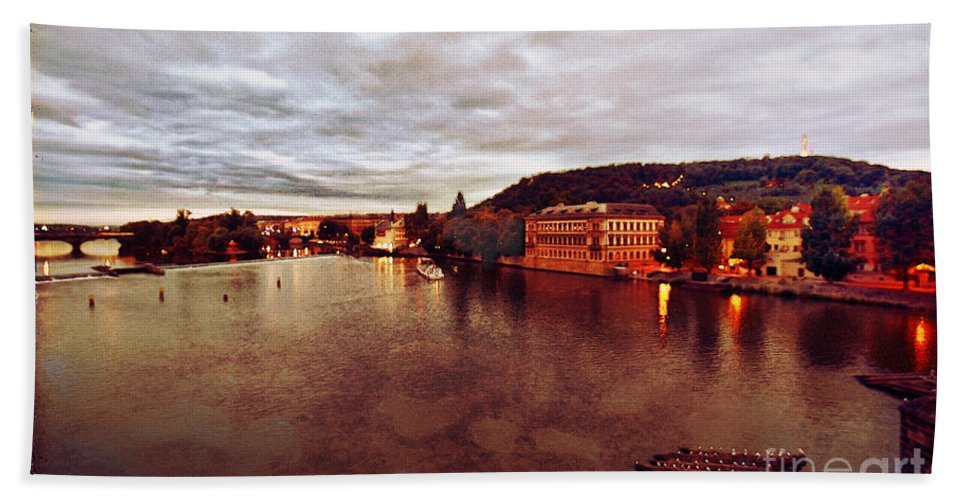 Vltava River Hand Towel featuring the photograph On The Vltava River by Madeline Ellis