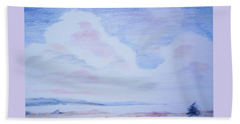 Landscape Painting Bath Sheet featuring the painting On The Way by Suzanne Udell Levinger