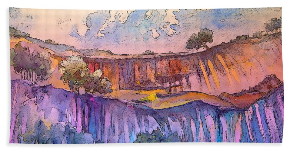 Spain Landscape Bath Sheet featuring the painting On The Way To Cazorla 03 by Miki De Goodaboom
