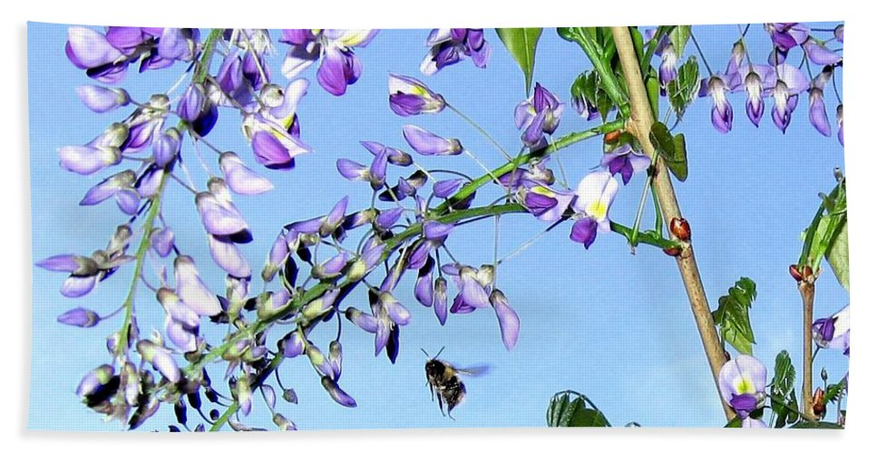 Honeybee Hand Towel featuring the photograph On The Wing by Will Borden