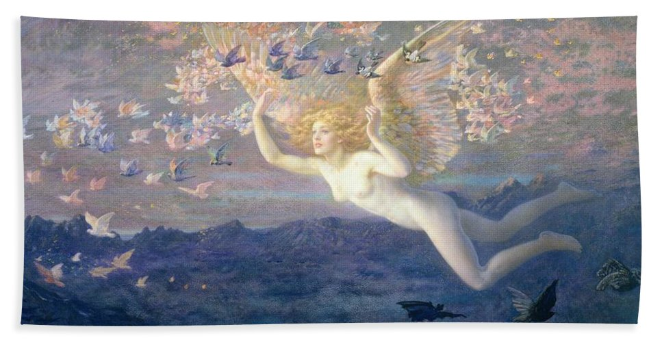 Nude Hand Towel featuring the painting On The Wings Of The Morning by Edward Robert Hughes