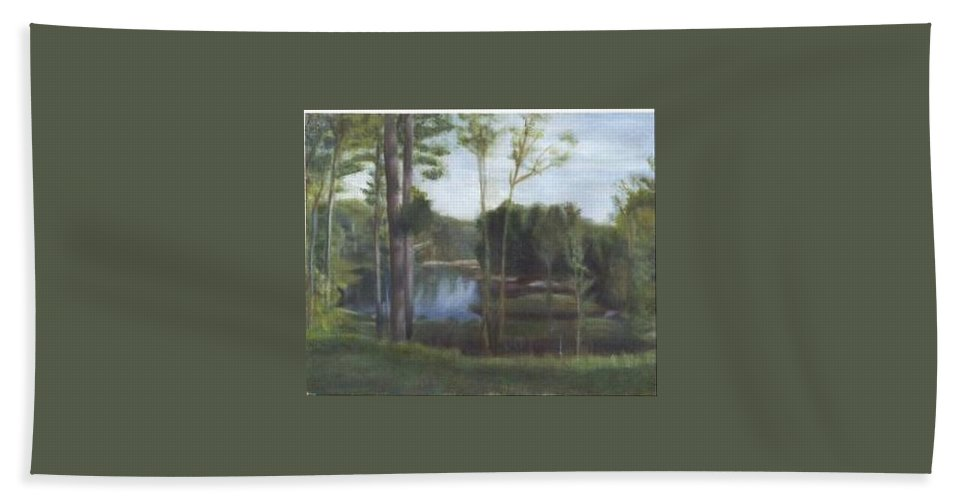 Landscape Hand Towel featuring the painting Once by Sheila Mashaw