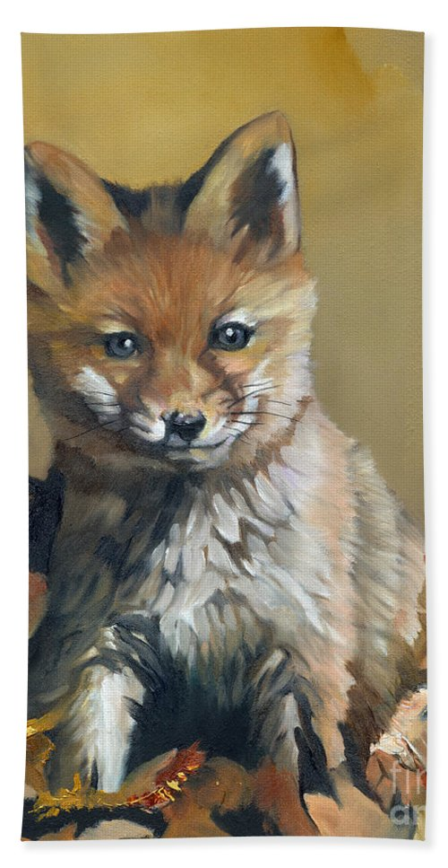 Fox Hand Towel featuring the painting Once Upon A Time by J W Baker