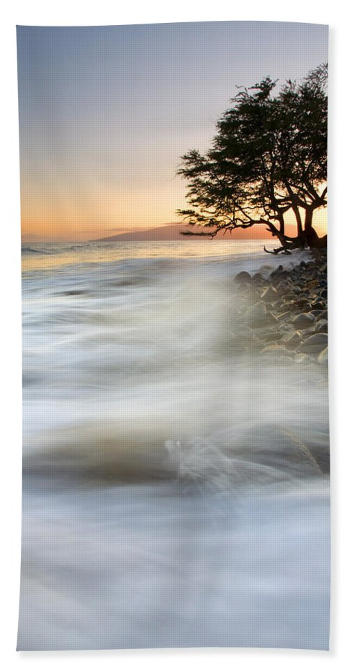 Sunset Bath Sheet featuring the photograph One Against The Tides by Mike Dawson