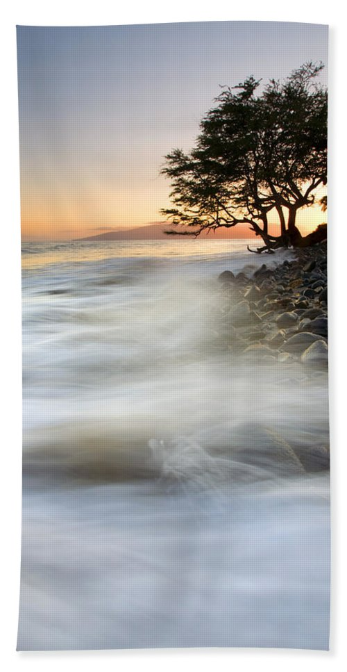 Sunset Hand Towel featuring the photograph One against the Tides by Mike Dawson