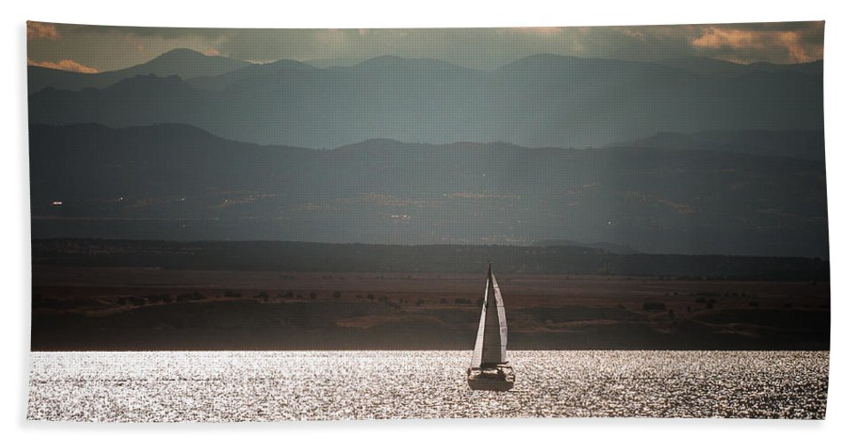 Lake Hand Towel featuring the photograph One Autumn Evening by John Bartelt