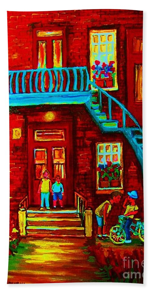 Bikes Bath Towel featuring the painting One Bike For Two Brothers by Carole Spandau