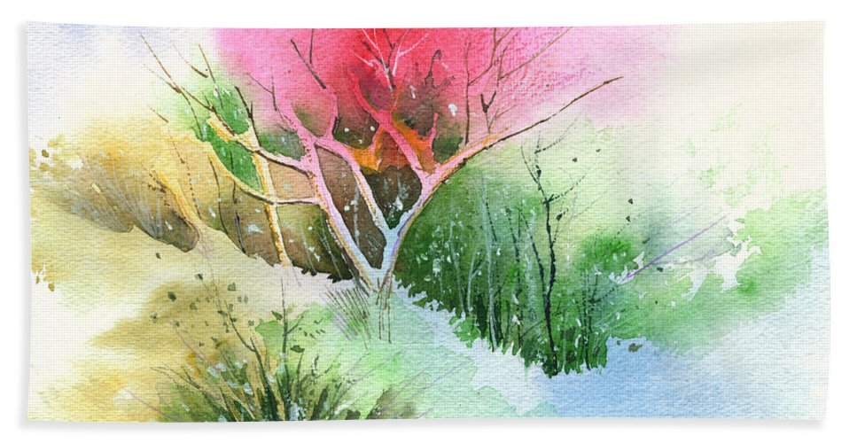 Greenery Hand Towel featuring the painting One for my master by Anil Nene