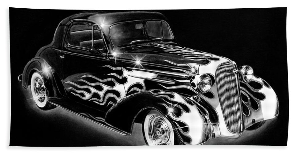 One Hot 1936 Chevrolet Coupe Bath Sheet featuring the drawing One Hot 1936 Chevrolet Coupe by Peter Piatt
