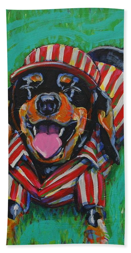 Dachshund Hand Towel featuring the painting One Lucky Dog by Tami Curtis