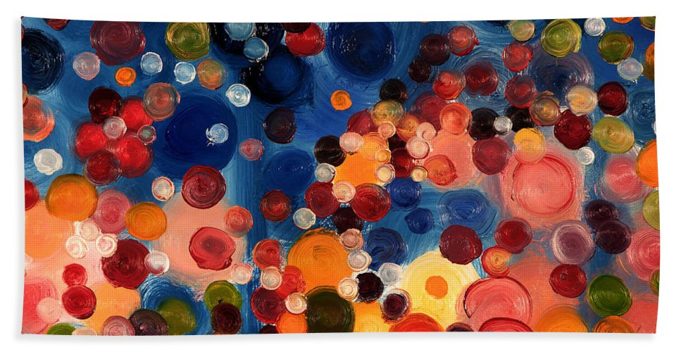 Abstract Hand Towel featuring the painting One Moment One Sun by William Van Doren