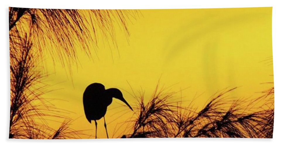 Egret Bath Towel featuring the photograph One Of A Series Taken At Mahoe Bay by John Edwards
