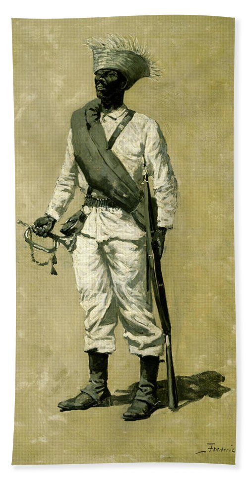 Gomez Bath Sheet featuring the painting One Of Gomez' Men by Frederic Sackrider Remington