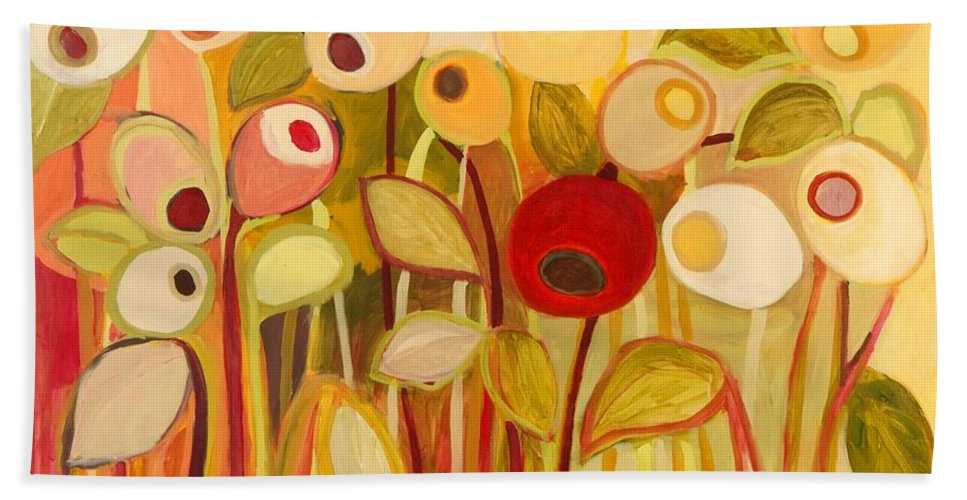 Floral Hand Towel featuring the painting One Red Posie by Jennifer Lommers
