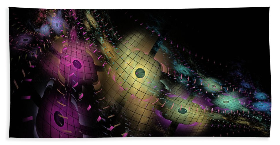 Nirvanablues Hand Towel featuring the digital art One World No.6 - Fractal Art by NirvanaBlues