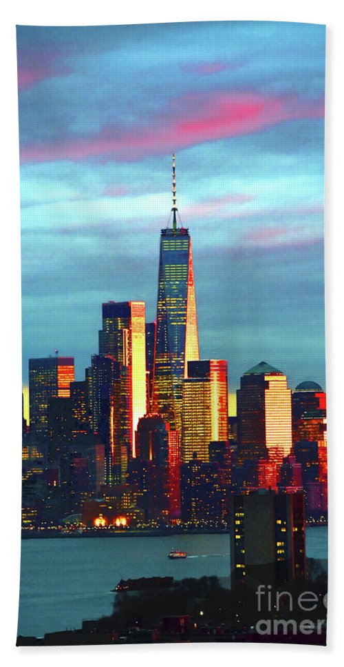 One World Trade Sundown Hand Towel featuring the photograph One World Trade Sunset Spectacle by Regina Geoghan