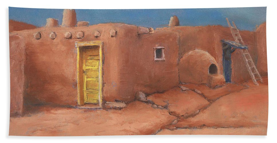 Taos Bath Towel featuring the painting One Yellow Door by Jerry McElroy