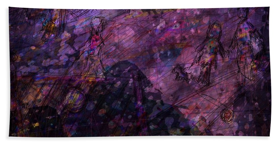 Abstract Hand Towel featuring the digital art Only Memories by Rachel Christine Nowicki