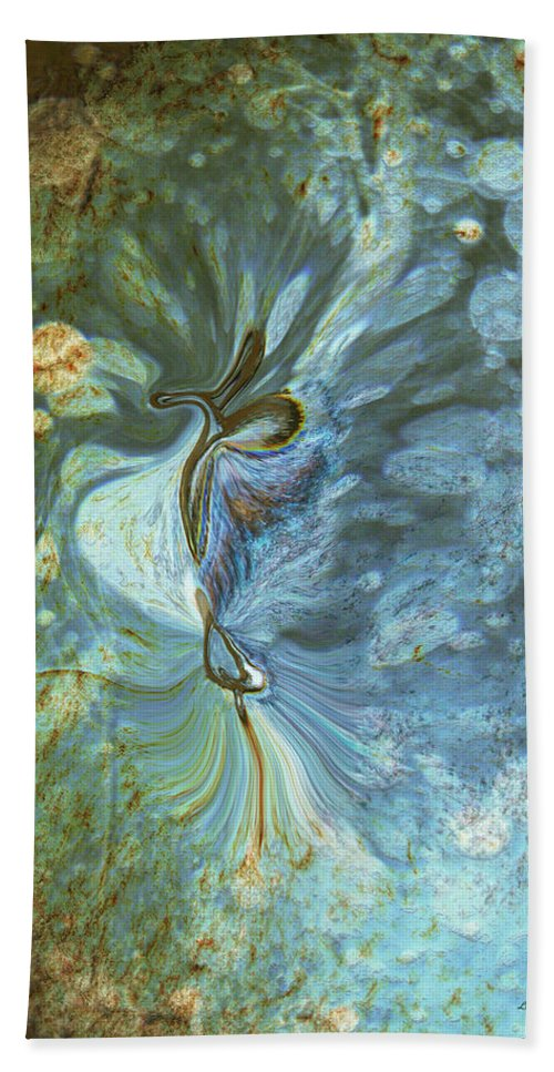 Abstract Bath Towel featuring the digital art Onward by Linda Sannuti