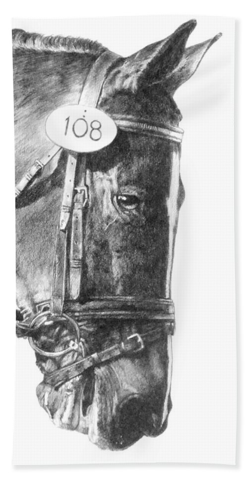Horse Hand Towel featuring the drawing Opaque by Barbara Keith