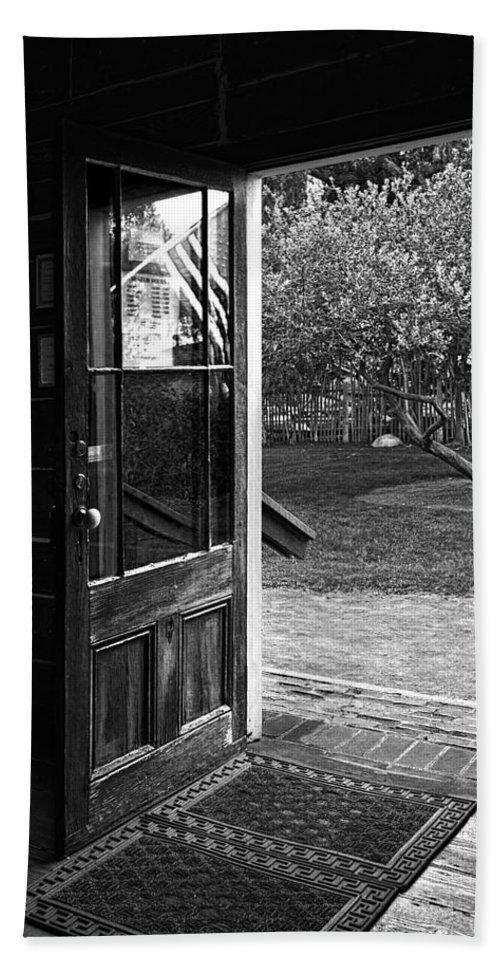 Door Hand Towel featuring the photograph Open Door B-w by Christopher Holmes