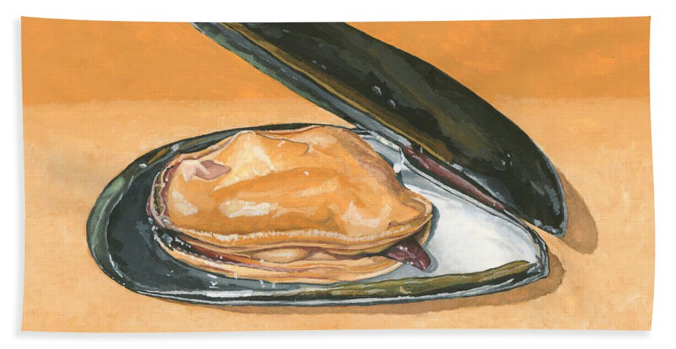 Mussel Hand Towel featuring the painting Open Mussel by Dominic White