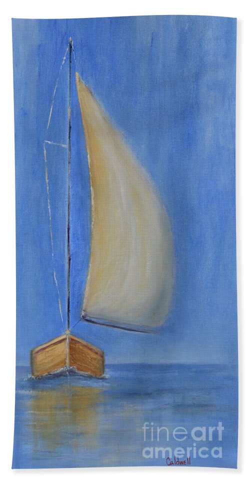 Sailboat Ocean Blue Water Sea Sailcloth Hoist Trip By Water Sails Set Hand Towel featuring the painting Open Sail by Patricia Caldwell