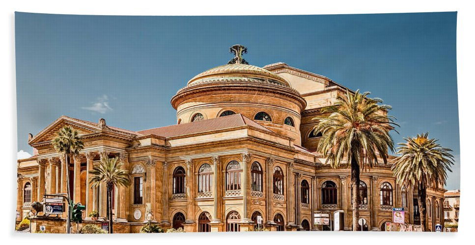 Architecture Hand Towel featuring the photograph Teatro Massimo Vittorio Emanuele by Maria Coulson