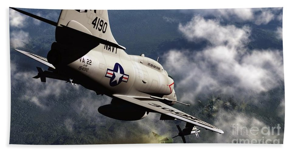 Aviation Hand Towel featuring the digital art Operation Commando Hunt by Richard Rizzo